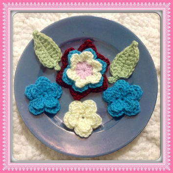 Hand Crochet Flower Appliques Embellishments-Set of 6- Princess Pink, Apple Red, Teal Blue and Creamy White