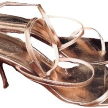 Women's Calvin Klein Bronze/Gold Metallic Leather Strappy Heels Sandals Sz. 8