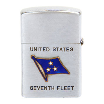 United States Navy Seventh Fleet Zippo Style Lighter Circa 1950's Korean War Era