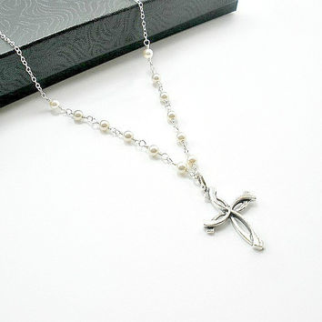 Pearl Necklace with Cross pendant, Pearl lariat necklace, Backdrop pearl, Bridal pearl jewelry, Bride pearl necklace, Mother of groom gift