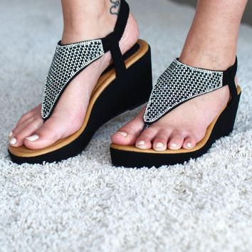 Two-Tone Rhinestone Wedge Sandal