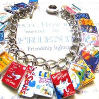 Dr.Suess Book Charm Bracelet-story,teacher,library,ooak