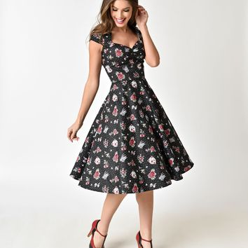Hell Bunny Black & Traditional Print 1950s Style Stevie Cotton Dress