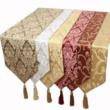 CREYLD1 New Jacquard Cotton Linen Rustic Table Runner Modern Coffee Tablecloth Rectangular Dining Table Mats Protection Pads