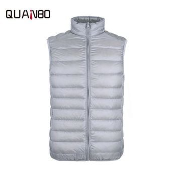 Men's high quality feather vest Fashion casual collar collar short section down jacket Thin section sleeveless 90% cashmere men