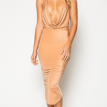 Drape Neck Backless Bodycon Dress