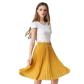 Vintage Tulle Skirt Tutu Midi Summer Skirts Womens 2017 Slim Elastic High Waist Skirt Jupe Longue Skater Skirt Pleated Skirts
