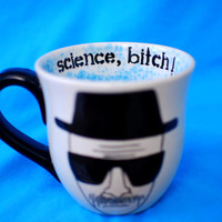 "Breaking Bad Heisenberg ""science, bitch!"" mug with blue crystals"