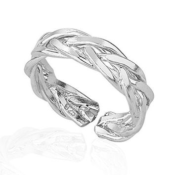925 Sterling Silver Thin Lines Braided Toe Ring