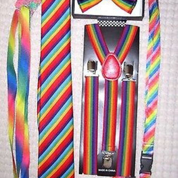 Men's Rainbow Stripes Adjustable Bow tie,Neck Tie,Suspenders,Lanyard,Shoelaces20