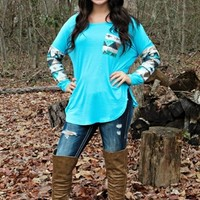 Sequin Light Blue Aztec Top