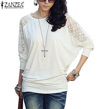 ZANZEA S-4XL 2018 Womens Autumn Lace Patchwork Blouse Long Batwing Sleeve O-Neck Casual Loose Shirt Tops Blusas Feminina