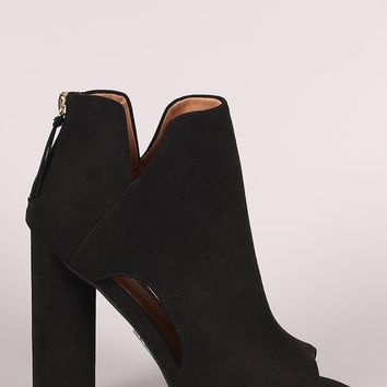 Qupid Suede Peep Toe Cutout Chunky Heeled Booties
