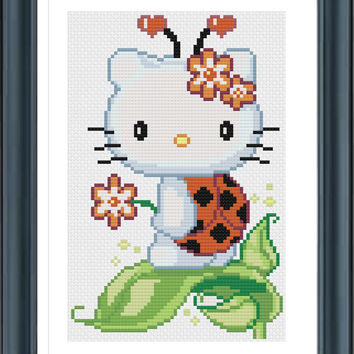 Buy 2 Get 1 Free, Hello Kitty Ladybug, Cross Stitch Pattern, PDF Digital Format
