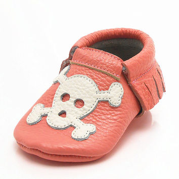 Orange Baby Moccasins Tassel Punk Skull Printed Cow Leather Baby Boy Shoes Newborn Baby First Walkers