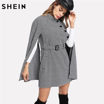 SHEIN Vintage Long Coat Women Black and White Fall Coat Cloak Sleeve Stand Collar Self Belted Houndstooth Cape Coat