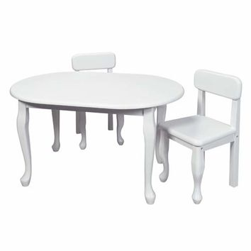 Gift Mark 3002W Oval Queen Anne Table and Two Chair Set - White