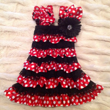 Minnie Mouse ruffled romper dress and matching bow size 24 months -3t black lace red white polka dots flower crystal