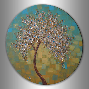 "Palette Knife Heavy Texture Gold Tree Painting  Abstract Landscape 20"" Round Canvas ORIGINAL Contemporary Floral  Art   Textured Wall Art"