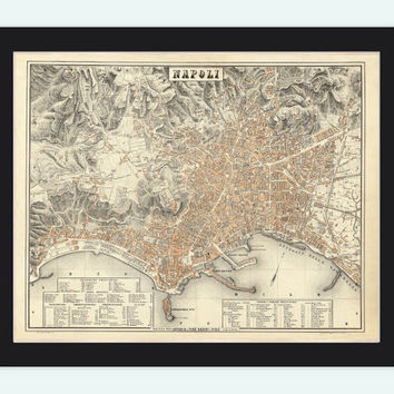 Old Map of Napoli Naples 1880 Antique Vintage Italy