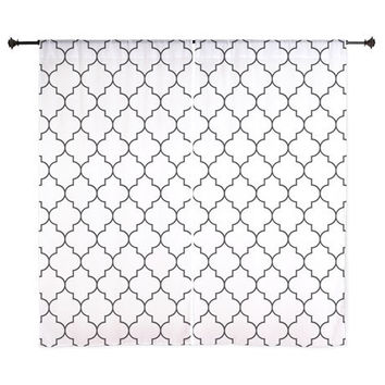 Chiffon Curtains - Black and White Quatrefoil - Sheer Curtains - Black and White Curtains - Black and White - Bedroom Curtains - Quatrefoil