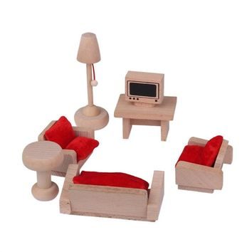 Dollhouse Furniture Living Room Set Traditional Wooden Toy for Kids