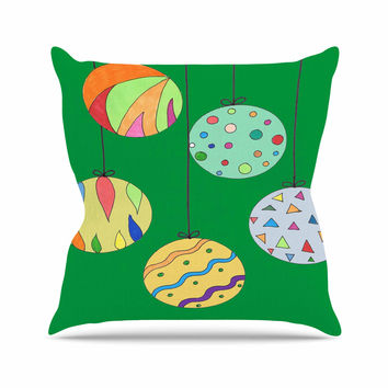"Rosie Brown ""Trim The Tree Green"" Multicolor Outdoor Throw Pillow"