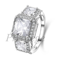 925 Sterling Silver 3 Carat Princess Cut CZ Diamond Vintage Three Stone Milgrain Art Deco Setting Wedding Engagement Ring
