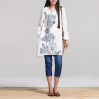 Embroidered Linen Maternity Dress Loose White Clothes For Pregnant Long Sleeve V neck Clothing