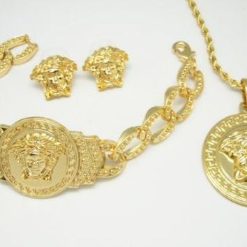 hcxx gold versace medusa three piece set with bracelet, necklace and earrings/rings