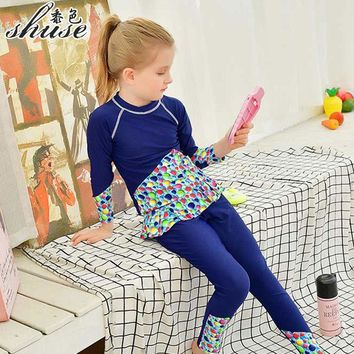 New Long Sleeve Swimsuits 2-12 years Beach Wear Anti-UV Girl's Swimming Cloth Cute Young Girl Kid Swim Suits Two Pieces SHUSE
