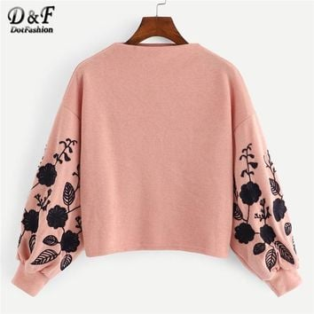 Dotfashion Pink Bishop Sleeve Floral Drop Shoulder Embroidery Crop Pullover Women Casual Cowl Neck Clothing Sweatshirt