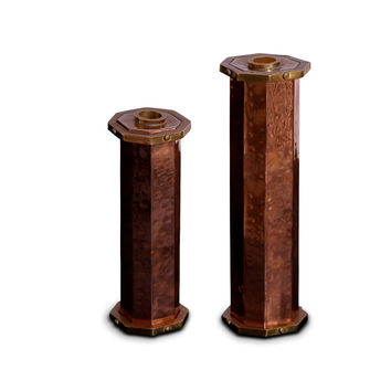 Copper and Brass Candlesticks Pair