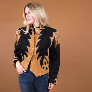 western leather fringe jacket / suede tan black abstract studded design / Vintage 80's southwestern boho
