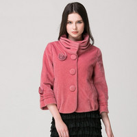 Casual Red High Collar Big Button Fur Jacket