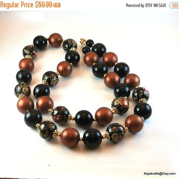 25% OFF Cloisonne Bead Necklace, Cloisonne Rose Bead Necklace, Brown Black Beads, Long Strand Bead Necklace,Mid Century Necklace, Christmas