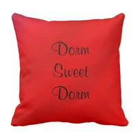 Dorm Sweet Dorm FUN Pillow Red Personalized