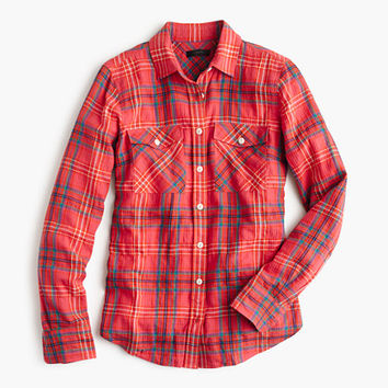 J.Crew Womens Boyfriend Shirt In Cerise Plaid