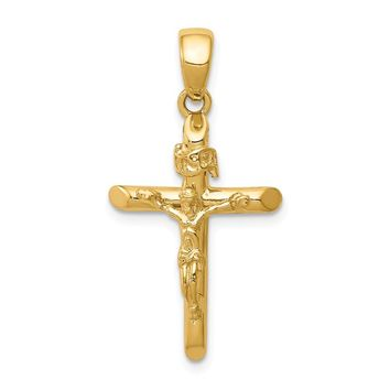 14K Yellow Gold Gold Polished 2-D Crucifix with Jesus on Cross Pendant