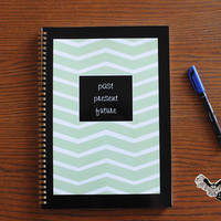 Past, present, future in notebook with celadon stripes /  journal, sketchbook, spiral, note book
