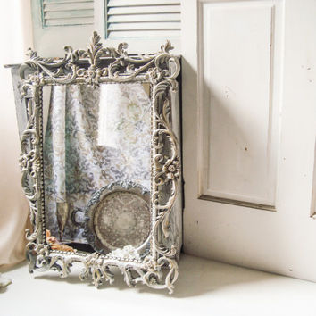French Farmhouse Light Gray Vintage Ornate Mirrors, Pale Powder Gray and Gold Distressed Pair of Mirrors, Shabby Chic Large Grey Mirrors