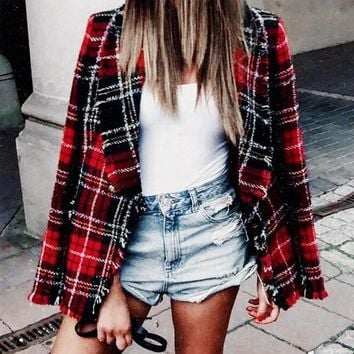 Chrissy Plaid Blazer