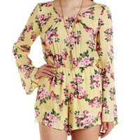 Yellow Combo Caged-Back Bell Sleeve Floral Romper by Charlotte Russe