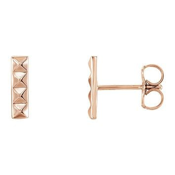 2.5mm x 9mm (3/8 Inch) 14k Rose Gold Small Pyramid Bar Earrings