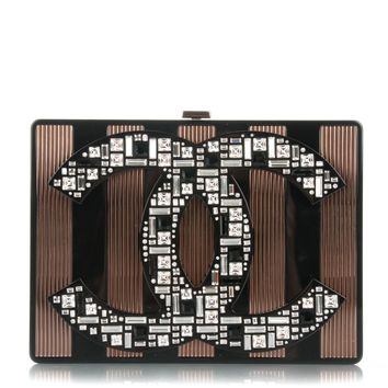 CHANEL Plexiglass Crystal CC Minaudiere Clutch Black Copper