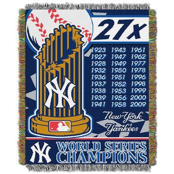 New York Yankees MLB World Series Commemorative Woven Tapestry Throw (48x60)