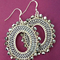 Seed Bead Earrings Crystal Oval Hoop Earrings Beadwork Statement Jewelry