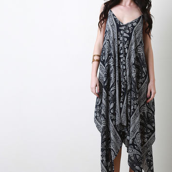 Paisley Handkerchief Hem Maxi Dress