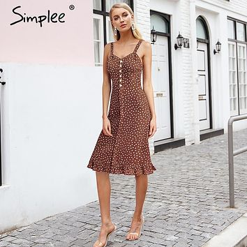 Simplee Elegent polka dot long dress Strap sleeveless front button flare hem print dress Slim fashion red summer dress 2018