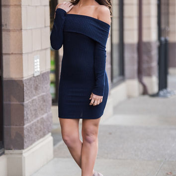 Sweet Little Something Fold Over Ribbed Bodycon Dress (Navy)